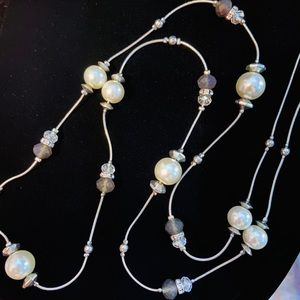 "Joan Rivers 18"" Silver Necklace Pearls & Swarovski"